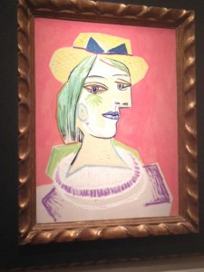 """""""Head of a Woman with Straw Hat on a Pink Background,"""" 1938"""