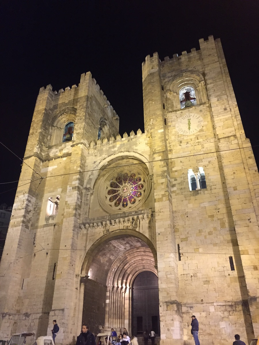 The Lisbon Cathedral in the Alfama neighborhood in Lisbon is breathtaking at night