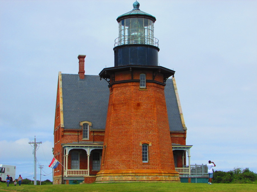 The stately Block Island Southeast Light, a lighthouse to explore during a day trip to Block Island