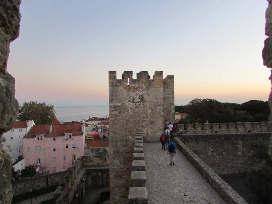 The St. Jorge's castle walls are a beautiful spot to view Lisbon at night